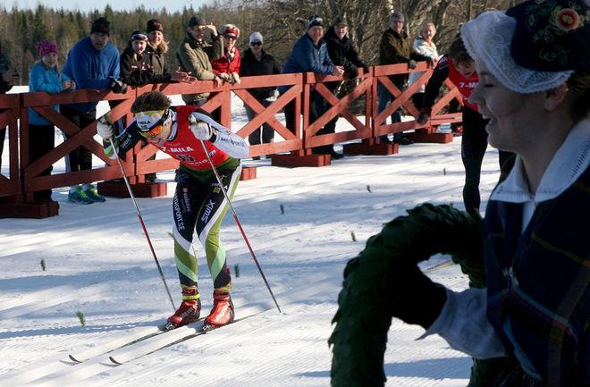 KLAS NILSSON vinner här 7-mila 2015. Idag vann han Rennrajden i Luleå. Foto: SKELLEFTEÅ XC