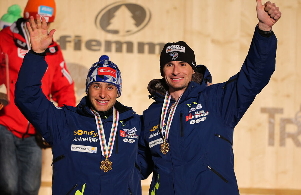 02.03.2013, Val di Fiemme, Italy (ITA): (l-r) Jason Lamy Chappuis (FRA), Salomon, Swix, One Way and Sebastian Lacroix (FRA), Atomic, Salomon, One Way- FIS nordic world ski championships, nordic combined, team sprint HS134/2x7.5km, Val di Fiemme (ITA). ww