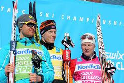 DESSA TOG hem ledartröjorna i årets Swix Ski Classics, fr v: Øystein Pettersen (sprint), Petter Eliassen (totalt) och Anders Høst (ungdom) - alla från Norge. Foto/rights: KJELL-ERIK KRISTIANSEN/sweski.com
