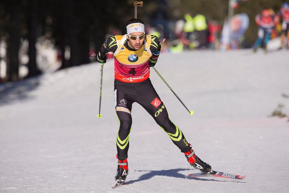 20.12.2014, Pokljuka, Slovenia (SLO): Martin Fourcade (FRA)- IBU world cup biathlon, pursuit men, Pokljuka (SLO). www.nordicfocus.com. © Manzoni/NordicFocus. Every downloaded picture is fee-liable.