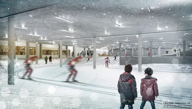 SÅ HÄR tänker man sig att det skall se ut i den nya skidhallen Skidome i Göteborgs Nya Arena. Illustration: GÖTEBORGS NYA ARENA