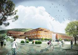 GÖTEBORGS NYA ARENA blir Nordens största multisportskomplex med förutom skidhall också anläggningar för många andra sporter, hotell, affärer och kontorer. Illustration: GÖTEBORGS NYA ARENA