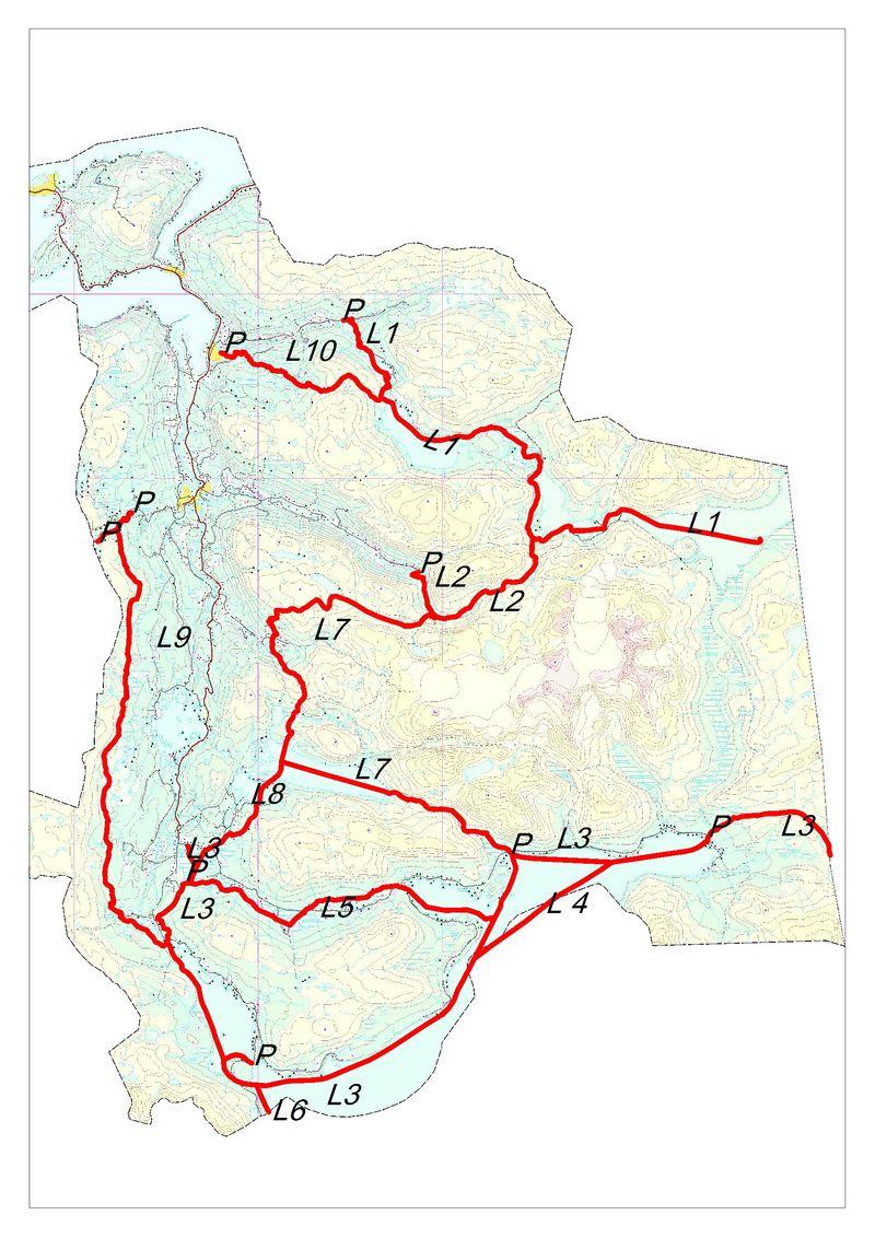 Kart over løypenett