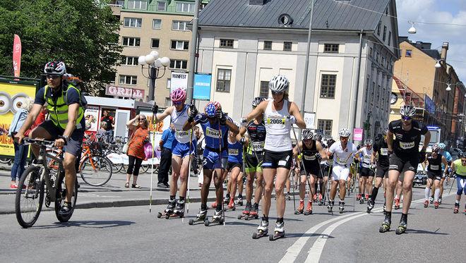 LAGER 157 SKI TEAM med Jörgen Brink i spetsen är klara för Stockholm Rollerski på lördag. Här från förra årets tävling. Foto: ARRANGÖREN
