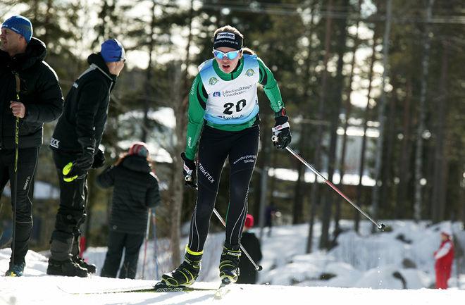 MALIN BÖRJESJÖ från arrangörsklubben Sundbybergs IK vann Skigo-rullen i Stockholm. Foto/rights: KJELL-ERIK KRISTIANSEN/sweski.com