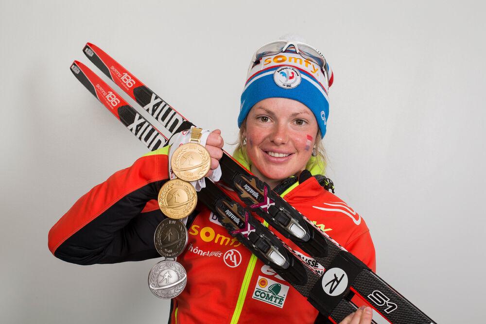 13.03.2015, Kontiolahti, Finland (FIN): Marie Dorin (FRA)- IBU world championships biathlon, medals, Kontiolahti (FIN). www.nordicfocus.com. © NordicFocus. Every downloaded picture is fee-liable.