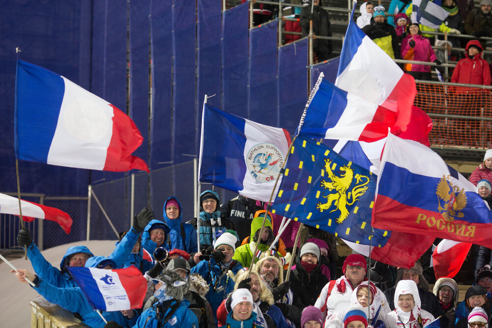 07.03.2015, Kontiolahti, Finland (FIN): Event Feature: French fans celebrate- IBU world championships biathlon, sprint women, Kontiolahti (FIN). www.nordicfocus.com. © NordicFocus. Every downloaded picture is fee-liable.