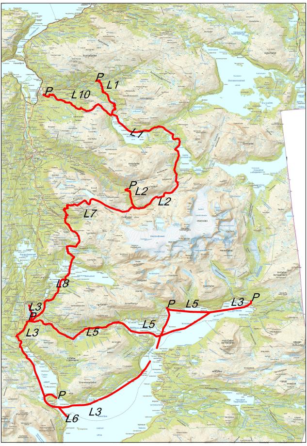 Kart over snøskuterløyper i Hemnes kommune