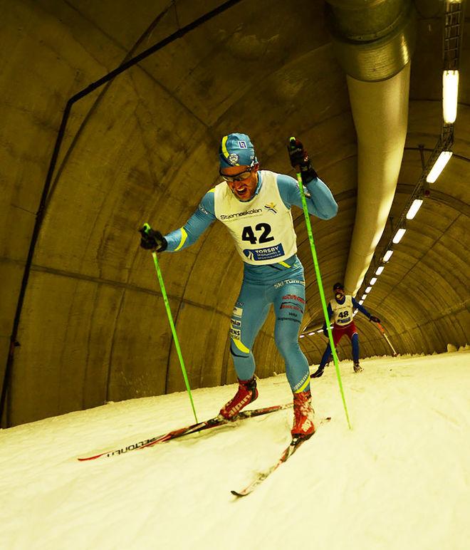 FIGHTING FACE för SK Bores Johannes Ringsby. Töcksfors-grabben åkte in till fjärde bästa tiden. Foto: TOM LINDSTRÖM