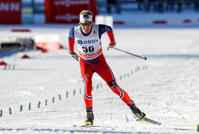 MARTIN LØWSTRØM NYENGET är en av dom åkare som står närmast det norska världscuplaget. Under söndagen vann han norska cupen i skiathlon. Foto: NORDIC FOCUS
