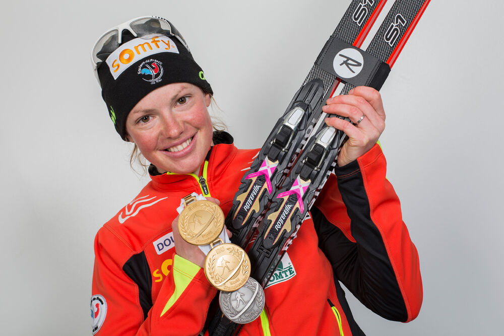 08.03.2015, Kontiolahti, Finland (FIN): Marie Dorin (FRA)- IBU world championships biathlon, medals, Kontiolahti (FIN). www.nordicfocus.com. © NordicFocus. Every downloaded picture is fee-liable.