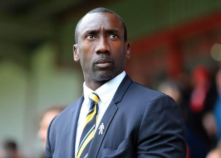 WALSALL, ENGLAND - OCTOBER 10:  Jimmy Floyd Hasselbaink the head coach / manager of Burton Albion  during the Sky Bet League One match between Walsall and Burton Albion at Bescot Stadium on October 10, 2015 in Walsall, England.  (Photo by James Baylis - A