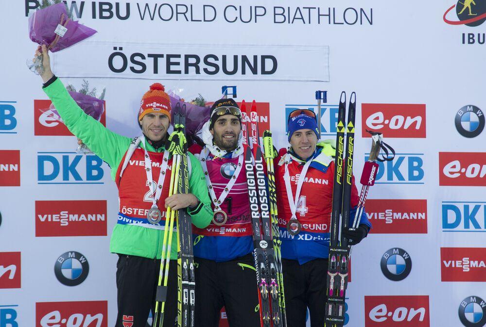 06.12.2015, Oestersund, Sweden (SWE):Arnd Peiffer (GER), Martin Fourcade (FRA), Quentin Fillon Maillet (FRA), (l-r) -  IBU world cup biathlon, pursuit men, Oestersund (SWE). www.nordicfocus.com. © Manzoni/NordicFocus. Every downloaded picture is fee-l