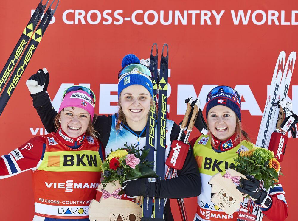 13.12.2015, Davos, Switzerland (SUI):Maiken Caspersen Falla (NOR), Stina Nilsson (SWE), Ingvild Flugstad Oestberg (NOR), (l-r) - FIS world cup cross-country, individual sprint, Davos (SUI). www.nordicfocus.com. © Felgenhauer/NordicFocus. Every downloa