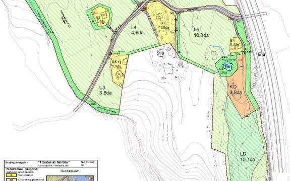 Forslag til reguleringskart Trosterud Nordre