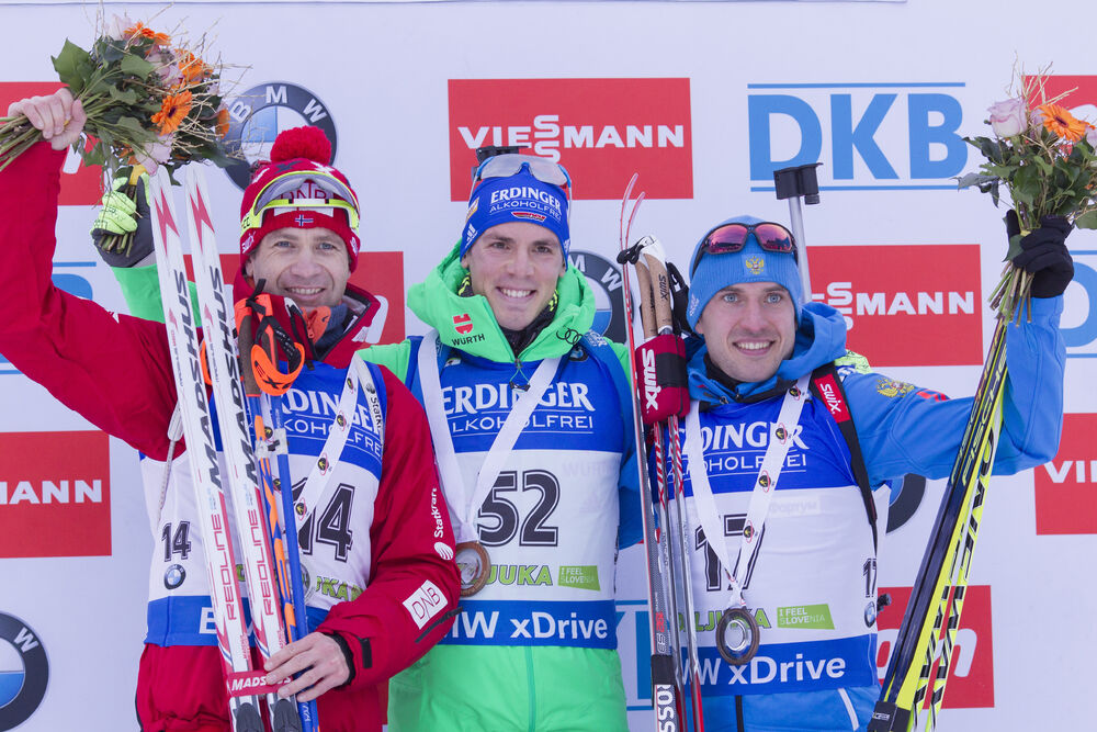 17.12.2015, Pokljuka, Slovenia (SLO):Ole Einar Bjoerndalen (NOR), Simon Schempp (GER), Evgeniy Garanichev (RUS), (l-r) -  IBU world cup biathlon, sprint men, Pokljuka (SLO). www.nordicfocus.com. © Manzoni/NordicFocus. Every downloaded picture is fee-lia