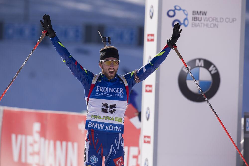 20.12.2015, Pokljuka, Slovenia (SLO):Jean Guillaume Beatrix (FRA) -  IBU world cup biathlon, mass men, Pokljuka (SLO). www.nordicfocus.com. © Manzoni/NordicFocus. Every downloaded picture is fee-liable.