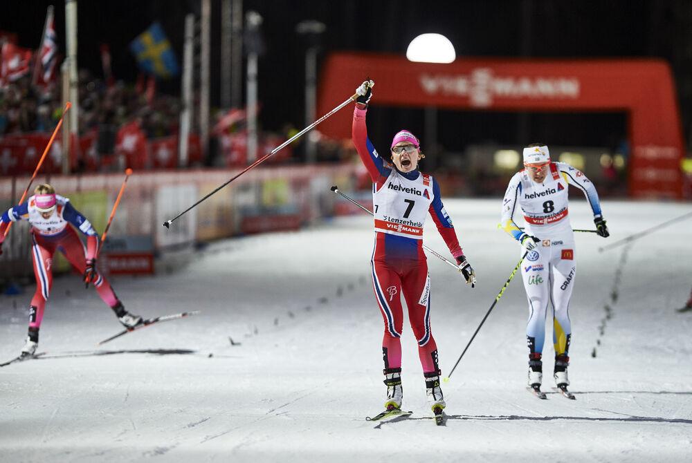 01.01.2016, Lenzerheide, Switzerland (SUI):Maiken Caspersen Falla (NOR), Ida Ingemarsdotter (SWE), (l-r)  - FIS world cup cross-country, tour de ski, individual sprint, Lenzerheide (SUI). www.nordicfocus.com. © Felgenhauer/NordicFocus. Every downloaded