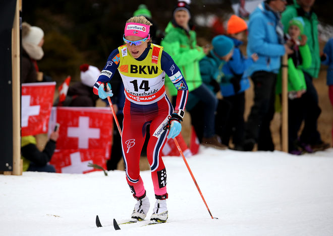 DET BLEV ett ensamt lopp för Therese Johaug. Ingen före, ingen vid sidan och ingen bakom… Foto/rights: MARCELA HAVLOVA/sweski.com