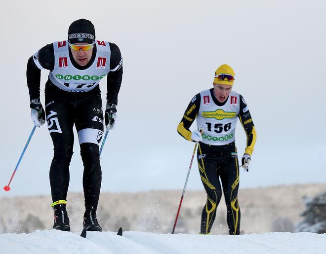 FREDRIK BYSTRÖM var starkast i spurten i AXA Skimarathon på Lugnet i Falun. Här är han i Bruksvallsloppet i vinter (tillsammans med Viktor Thorn). Foto/rights: KJELL-ERIK KRISTIANSEN/sweski.com