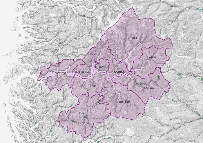 Kart over sognekommunane og Voss