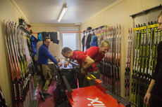 21.01.2015, Antholz, Italy (ITA): Fun in the Swiss Wax cabine with Sascha Koenig (GER) and Frank Schmidt (GER) - IBU world cup biathlon, training, Antholz (ITA). www.nordicfocus.com. © Manzoni/NordicFocus. Every downloaded picture is fee-liable.