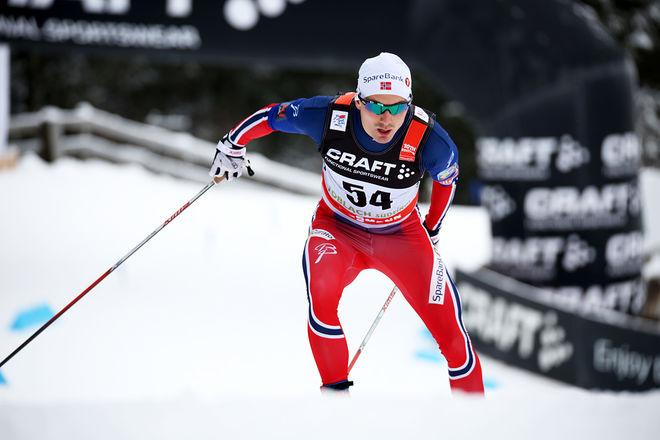 FINN HAAGEN KROGH på väg mot segern i Tour de Ski i Toblach. Foto/rights: MARCELA HAVLOVA/sweski.com