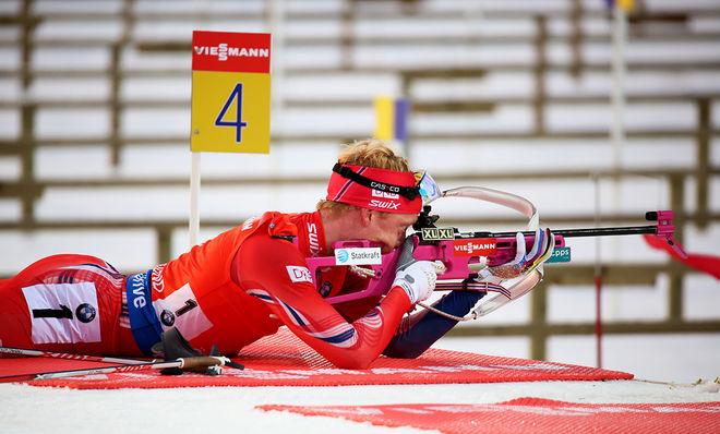 JOHANNES THINGNES BØ skrämde konkurrenterna med oerhörd snabb skidåkning och perfekt stående skytte i OS-genrepet i Antholz i Italien. Foto/rights: MARCELA HAVLOVA/KEK-stock