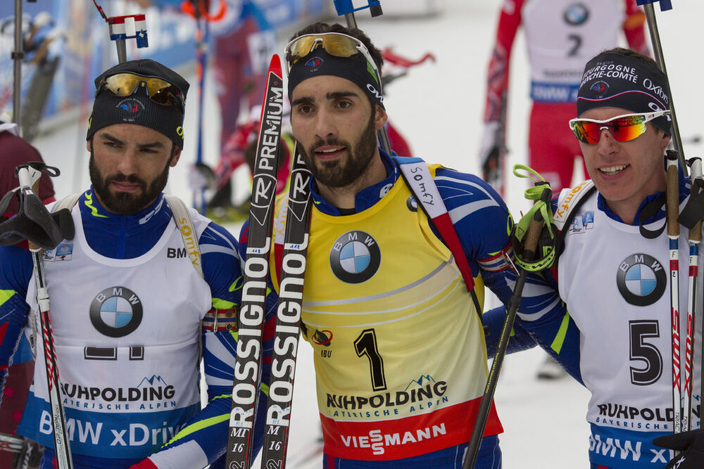 10.01.2016, Ruhpolding, Germany (GER):Simon Fourcade (FRA), Martin Fourcade (FRA), Quentin Fillon Maillet (FRA), (l-r) -  IBU world cup biathlon, mass men, Ruhpolding replacing Oberhof (GER). www.nordicfocus.com. © Manzoni/NordicFocus. Every downloaded