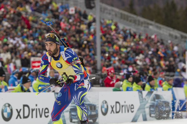 10.01.2016, Ruhpolding, Germany (GER):Martin Fourcade (FRA) - IBU world cup biathlon, mass men, Ruhpolding replacing Oberhof (GER). www.nordicfocus.com. © Manzoni/NordicFocus. Every downloaded picture is fee-liable. NordicFocus