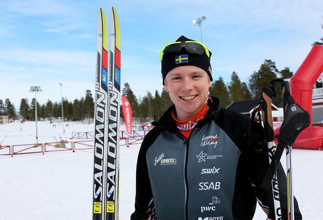 HUGO JACOBSSON från Falun-Borlänge SK vann prologen i H19-20 vid JSM i Kalix. Foto/rights: KJELL-ERIK KRISTIANSEN/sweski.com