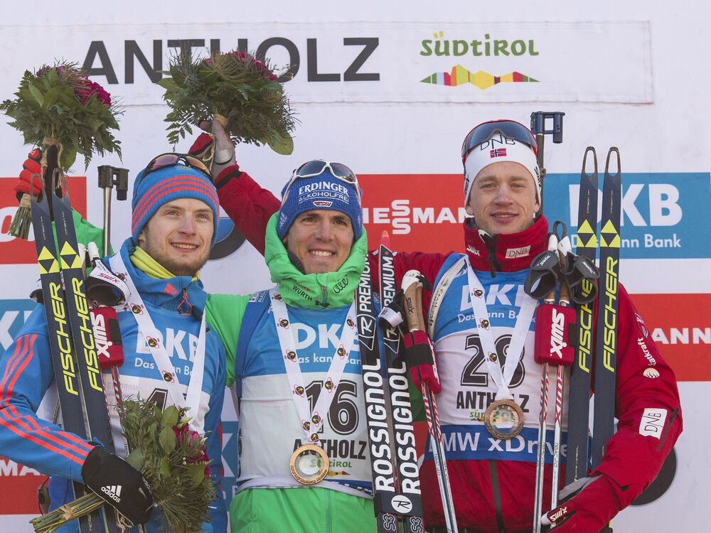 22.01.2016, Antholz, Italy (ITA):Maxim Tsvetkov (RUS), Simon Schempp (GER), Tarjei Boe (NOR), (l-r) -  IBU world cup biathlon, sprint men, Antholz (ITA). www.nordicfocus.com. © Manzoni/NordicFocus. Every downloaded picture is fee-liable.
