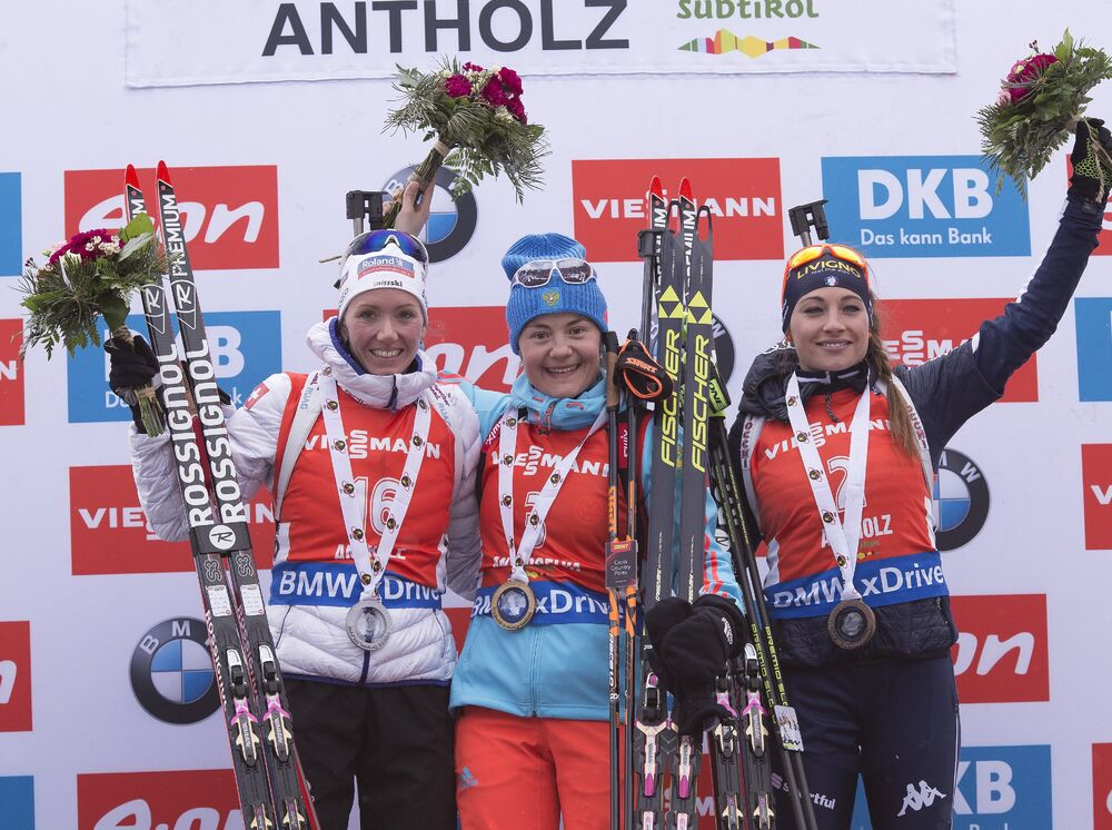 23.01.2016, Antholz, Italy (ITA):Selina Gasparin (SUI), Ekaterina Yurlova (RUS), Dorothea Wierer (ITA), (l-r) -  IBU world cup biathlon, pursuit women, Antholz (ITA). www.nordicfocus.com. © Manzoni/NordicFocus. Every downloaded picture is fee-liable.