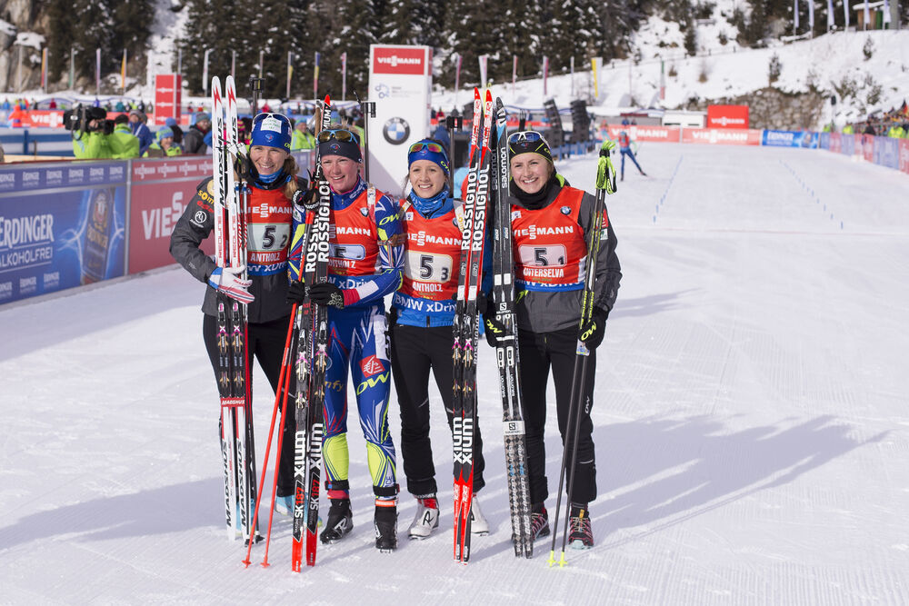 24.01.2016, Antholz, Italy (ITA):Anais Bescond (FRA), Marie Dorin (FRA), Anais Chevalier (FRA), Justine Braisaz (FRA) -  IBU world cup biathlon, relay women, Antholz (ITA). www.nordicfocus.com. © Manzoni/NordicFocus. Every downloaded picture is fee-liab
