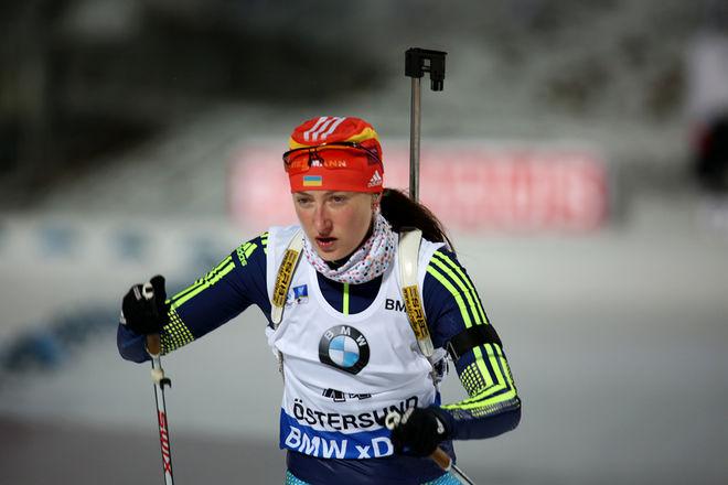 EX-RYSKAN Olga Abramova, som nu tävlar för Ukraina, har testat positivt för ett medel som först kom på dopinglistan från 1 januari 2016. Här från världscupen i Östersund i vinter. Foto7rights: MARCELA HAVLOVA/sweski.com