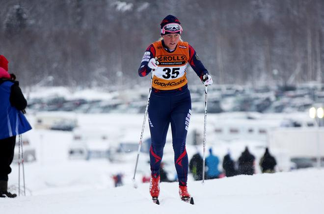 SANDRA OLSSON, förstaårssenioren från Malungs IF, var bäst i Västgötaloppet Tjejer under lördagen. Foto/rights: KJELL-ERIK KRISTIANSEN/sweski.com