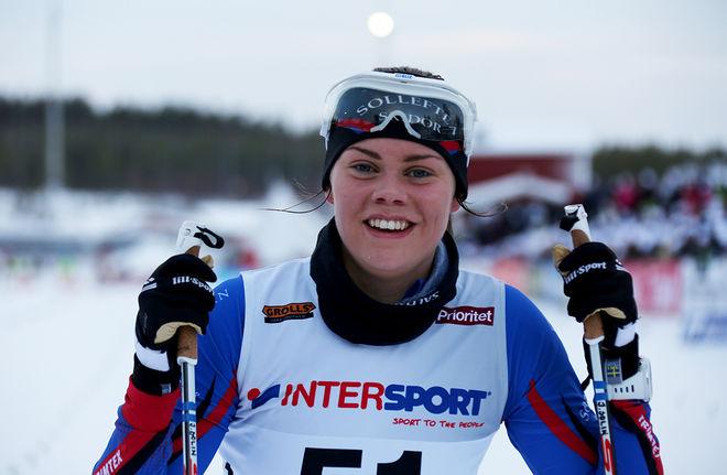 JENNY SOLIN från Sollefteå var en av tre svenska tjejer i JVM-finalen i sprint och hon grejade sig bäst med brons till slut. Foto/rights: KJELL-ERIK KRISTIANSEN/sweski.com