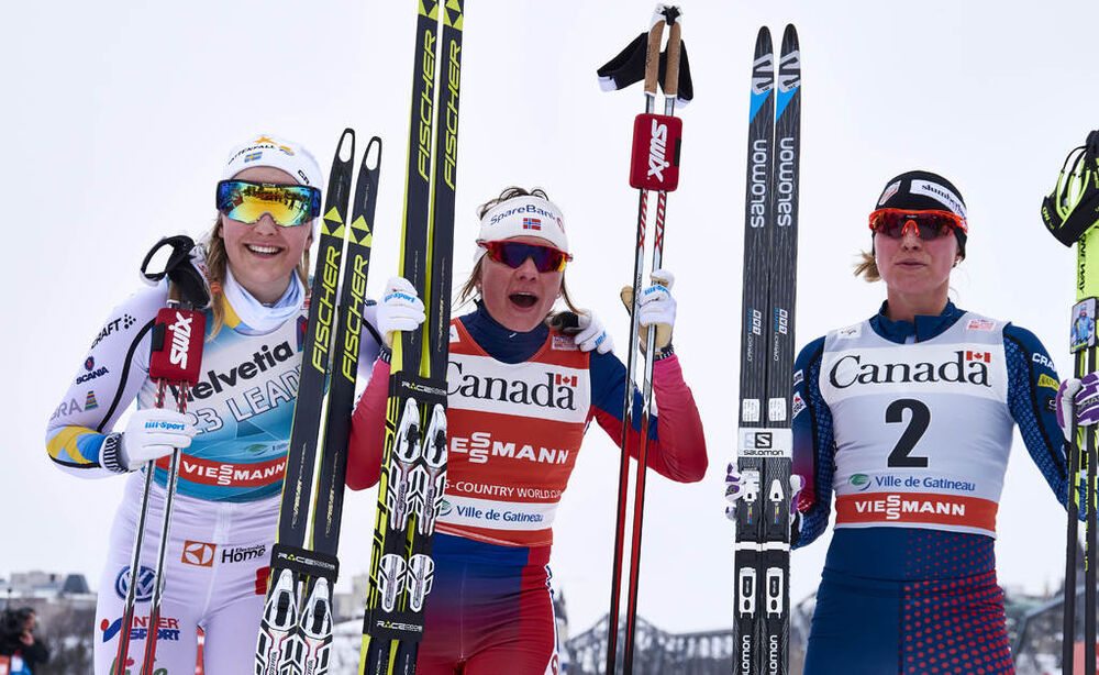 01.03.2016, Gatineau, Canada (CAN):Stina Nilsson (SWE), Maiken Caspersen Falla (NOR), Jessica Diggins (USA), (l-r)  - FIS world cup cross-country, individual sprint, Gatineau (CAN). www.nordicfocus.com. © Felgenhauer/NordicFocus. Every downloaded pictur
