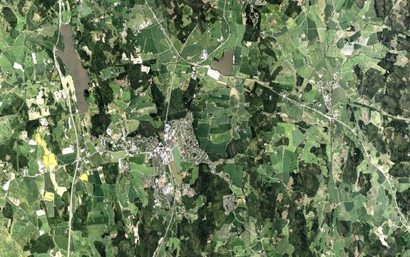 Oversiktsbilde av Ås sentrum med omegn