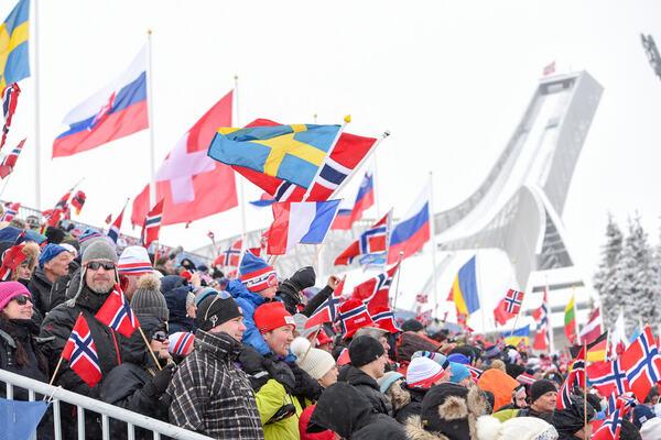 06.03.2016, Oslo, Norway (NOR): biathlon fansEvent Feature: - IBU world championships biathlon, pursuit men, Oslo (NOR). www.nordicfocus.com. © Tumashov/NordicFocus. Every downloaded picture is fee-liable. Tumashov/NordicFocus