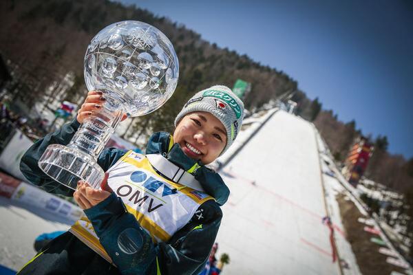 18.03.2016, Planica, Slovenia (SLO):Sara Takanashi (JPN) - FIS world cup ski flying, cups, Planica (SLO). www.nordicfocus.com. © Modica/NordicFocus. Every downloaded picture is fee-liable. NordicFocus