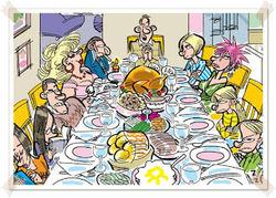 måltid rundt bord - tegning
