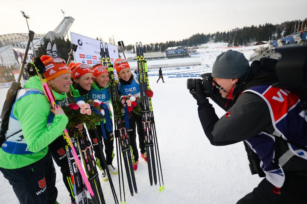11.03.2016, Oslo, Norway (NOR):Franziska Preuss (GER), Franziska Hildebrand (GER), Maren Hammerschmidt (GER), Laura Dahlmeier (GER) - IBU world championships biathlon, relay women, Oslo (NOR). www.nordicfocus.com. © Tumashov/NordicFocus. Every downloade