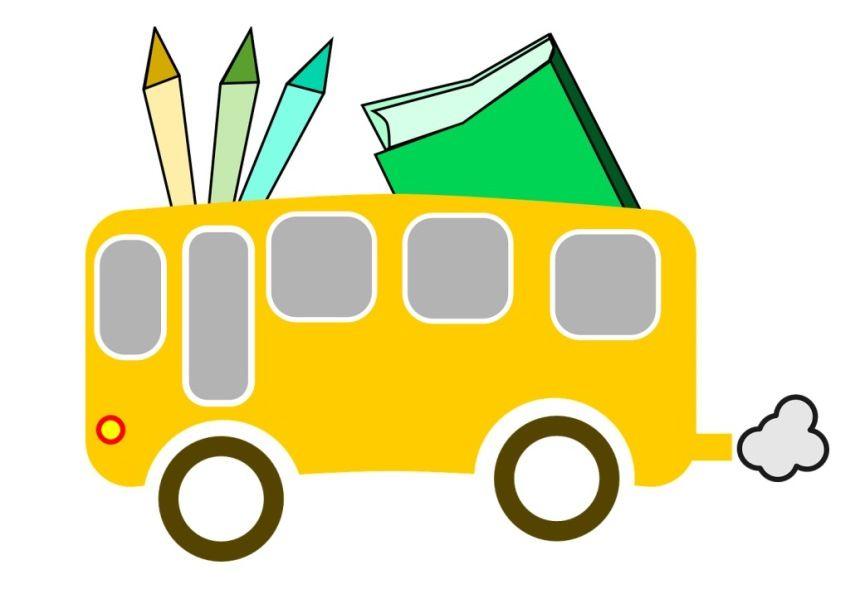 Skoleskyss, illustrasjon av skolebuss