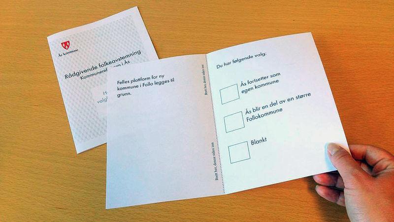 Illustrasjonsfoto av stemmeseddelen til folkeavstemningen 2016 om kommunereformen