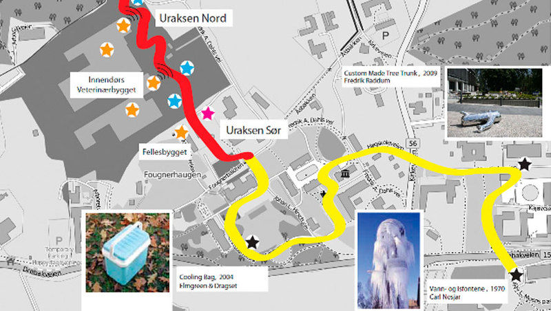 Kartillustrasjon for kunstplanen til Campus Ås