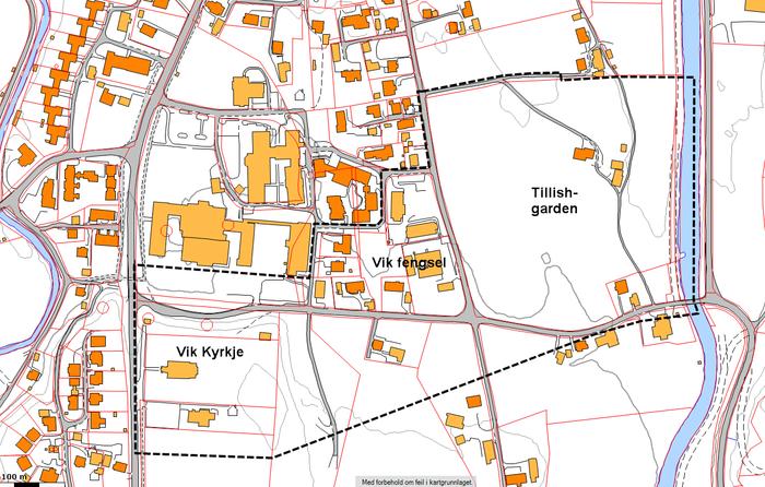 kartutsnitt med planområde markert med svart stipla linje