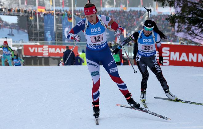 SYNNØVE SOLEMDAL under VM-stafetten i vintras där det blev ett överraskande guld för Norge. Foto/rights: MARCELA HAVLOVA/sweski.com