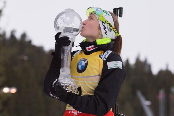 22.03.2015, Khanty-Mansiysk, Russia (RUS): Darya Domracheva (BLR) - IBU world cup biathlon, cups, Khanty-Mansiysk (RUS). www.nordicfocus.com. © Manzoni/NordicFocus. Every downloaded picture is fee-liable. NordicFocus