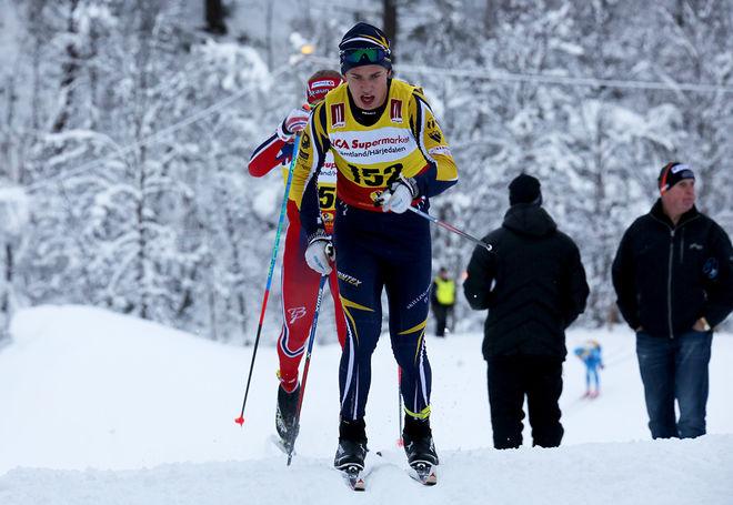 LEO JOHANSSON från Skillingaryd var i ledningen halvvägs, men han fick ge sig med 0,2 sekunder för William Poromaa, som tog sitt första JSM-guld. Foto/rights: KJELL-ERIK KRISTIANSEN/sweski.com